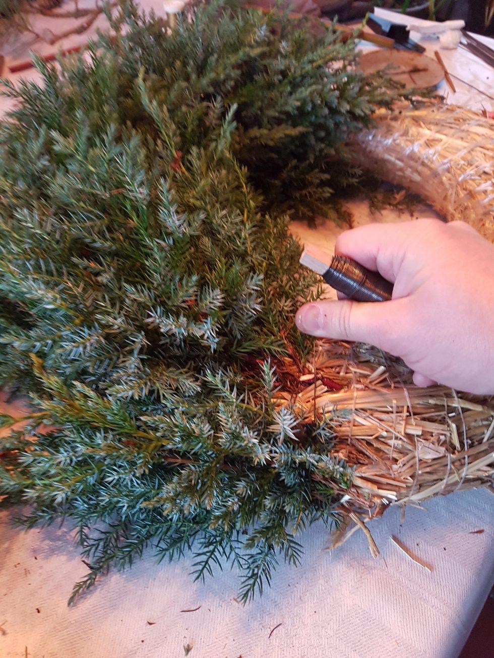 Ved hjelp av vikletråden holder du de små grenene på plass til hele bredden er lagt.